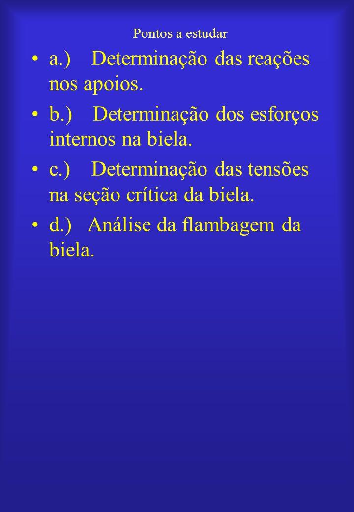 Pontos a estudar a.) Determinação das reações nos apoios. b.) Determinação dos esforços internos na biela. c.) Determinação das tensões na seção críti