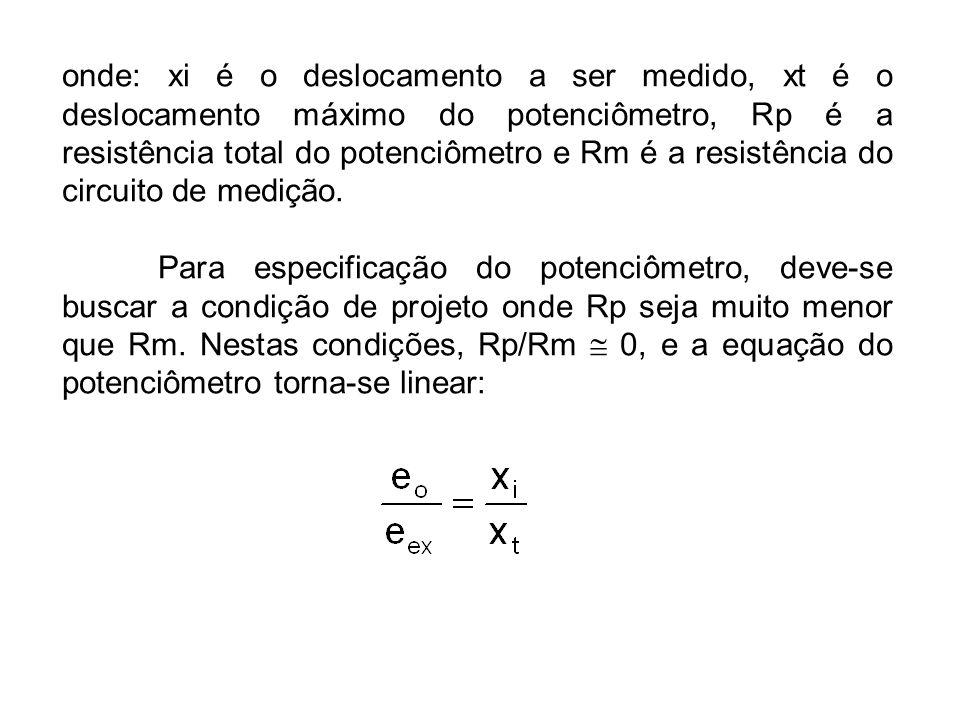 onde: xi é o deslocamento a ser medido, xt é o deslocamento máximo do potenciômetro, Rp é a resistência total do potenciômetro e Rm é a resistência do