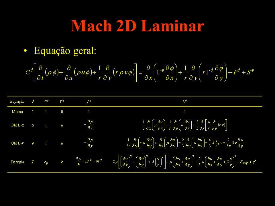 Mach 2D Laminar Equação geral: