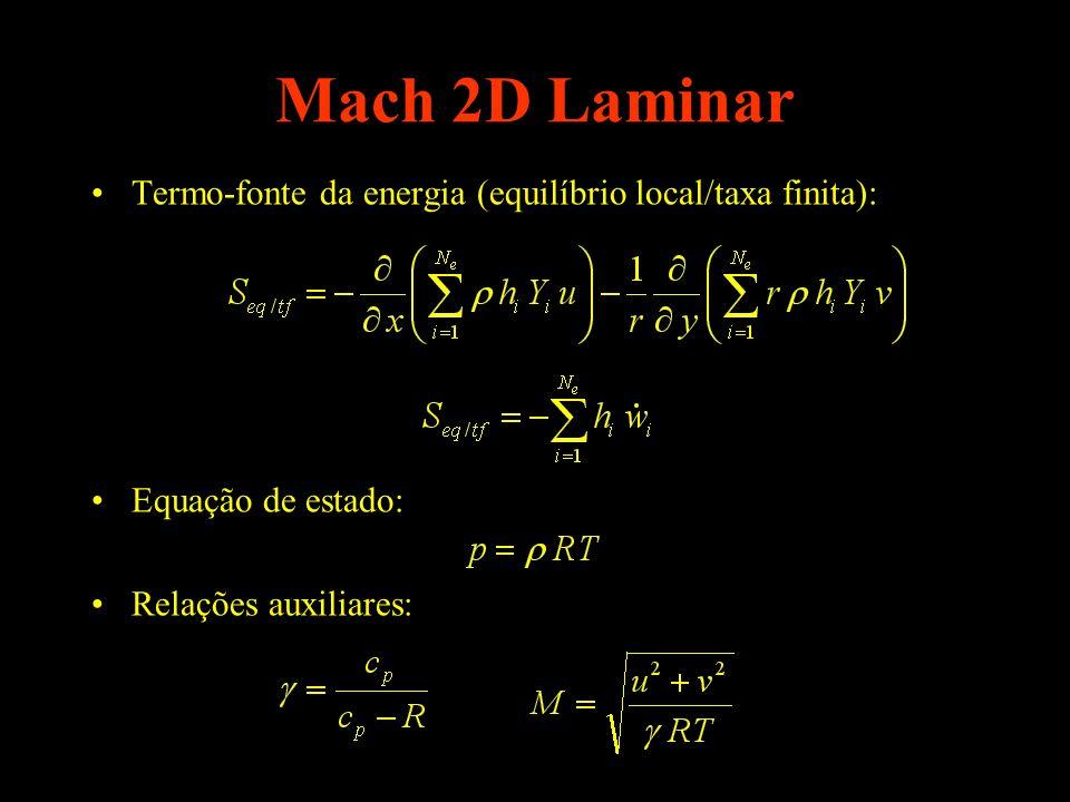 Mach 2D Laminar Termo-fonte da energia (equilíbrio local/taxa finita): Equação de estado: Relações auxiliares: