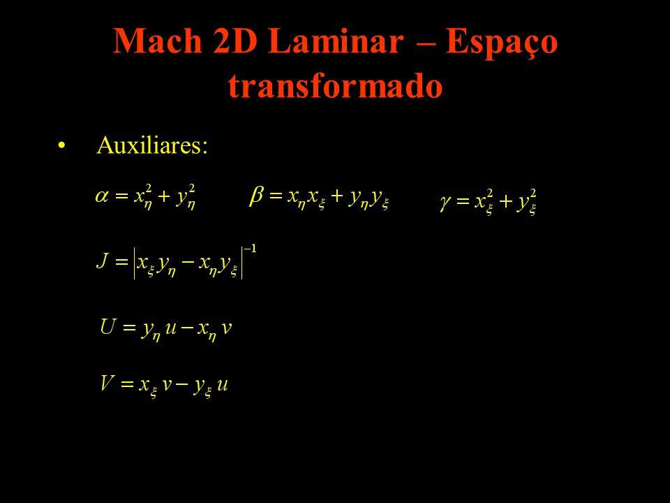 Mach 2D Laminar – Espaço transformado Auxiliares: