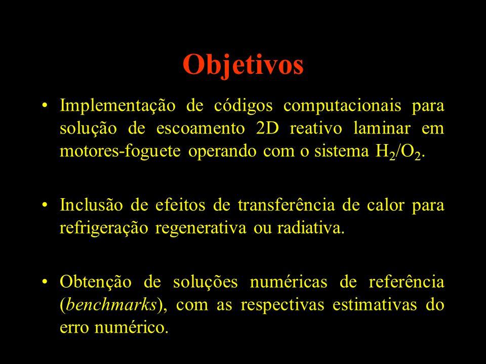 Objetivos Implementação de códigos computacionais para solução de escoamento 2D reativo laminar em motores-foguete operando com o sistema H 2 /O 2. In