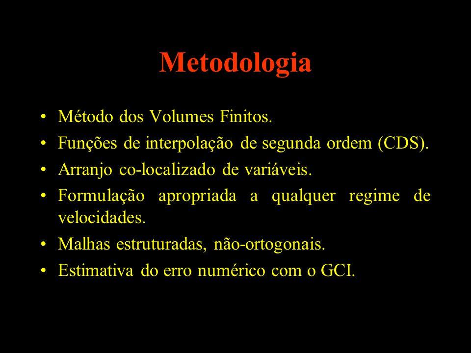 Metodologia Método dos Volumes Finitos. Funções de interpolação de segunda ordem (CDS). Arranjo co-localizado de variáveis. Formulação apropriada a qu