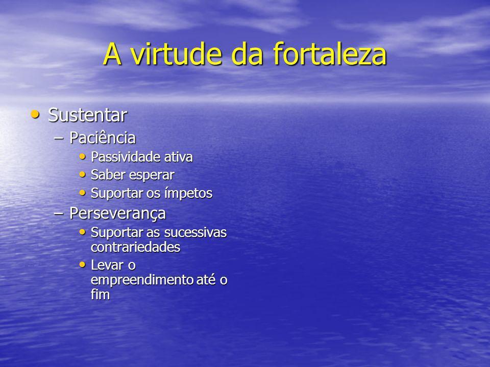 A virtude da fortaleza Sustentar Sustentar –Paciência Passividade ativa Passividade ativa Saber esperar Saber esperar Suportar os ímpetos Suportar os