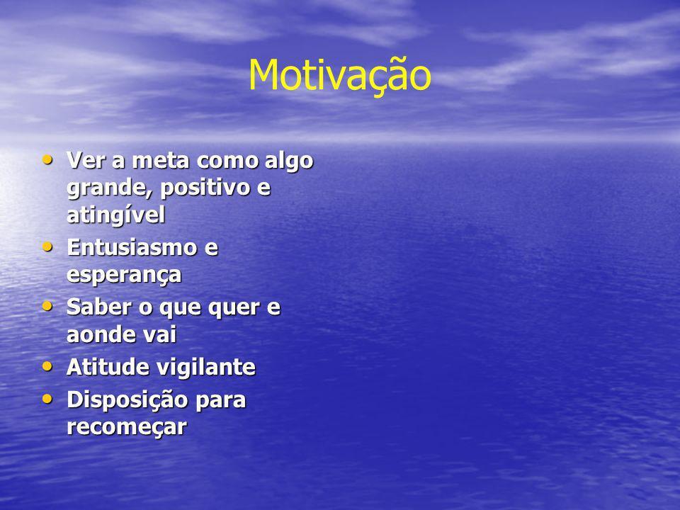 Motivação Ver a meta como algo grande, positivo e atingível Ver a meta como algo grande, positivo e atingível Entusiasmo e esperança Entusiasmo e espe