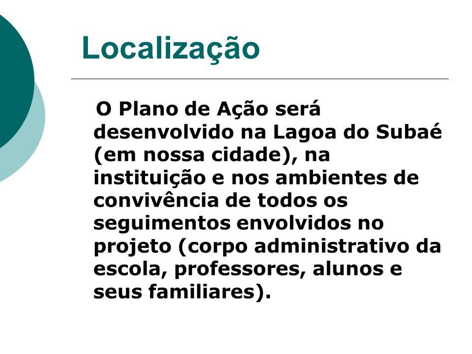 Localização O Plano de Ação será desenvolvido na Lagoa do Subaé (em nossa cidade), na instituição e nos ambientes de convivência de todos os seguimentos envolvidos no projeto (corpo administrativo da escola, professores, alunos e seus familiares).