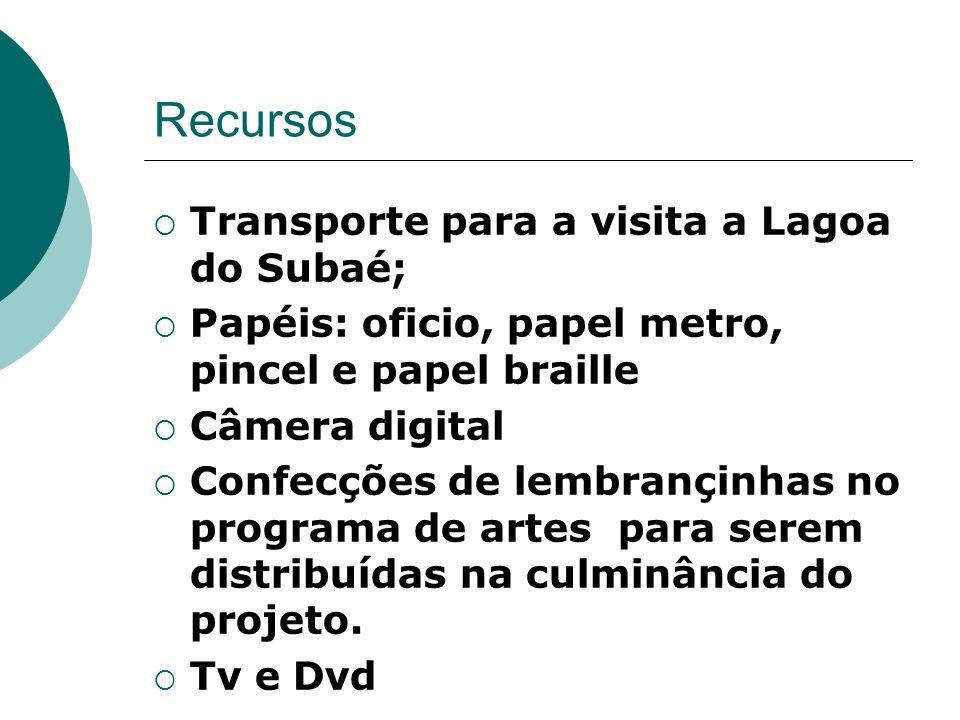 Recursos Transporte para a visita a Lagoa do Subaé; Papéis: oficio, papel metro, pincel e papel braille Câmera digital Confecções de lembrançinhas no programa de artes para serem distribuídas na culminância do projeto.