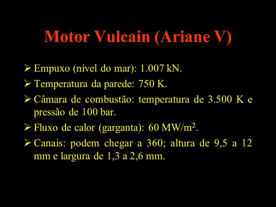Motor Vulcain (Ariane V) Empuxo (nível do mar): 1.007 kN. Temperatura da parede: 750 K. Câmara de combustão: temperatura de 3.500 K e pressão de 100 b