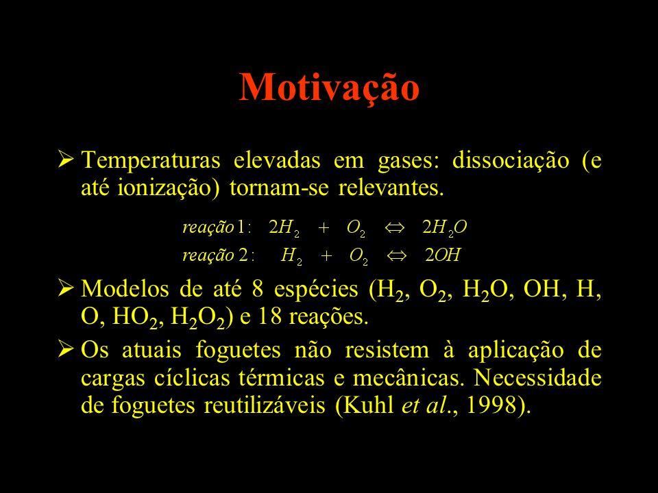 Motivação Temperaturas elevadas em gases: dissociação (e até ionização) tornam-se relevantes. Modelos de até 8 espécies (H 2, O 2, H 2 O, OH, H, O, HO