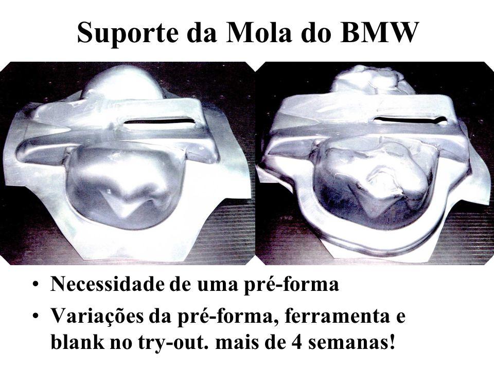Suporte da Mola do BMW Necessidade de uma pré-forma Variações da pré-forma, ferramenta e blank no try-out.