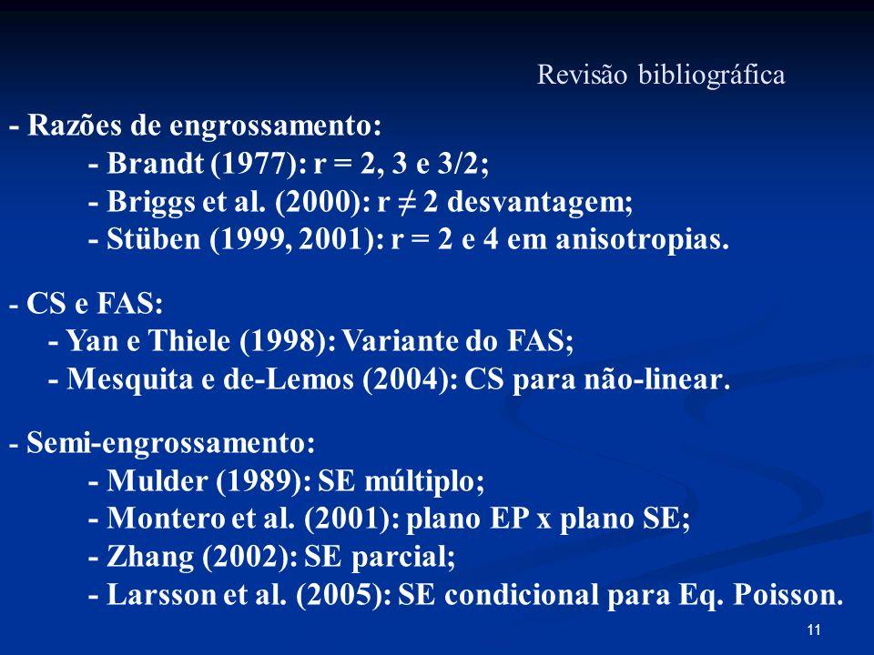 11 Revisão bibliográfica - Razões de engrossamento: - Brandt (1977): r = 2, 3 e 3/2; - Briggs et al. (2000): r 2 desvantagem; - Stüben (1999, 2001): r