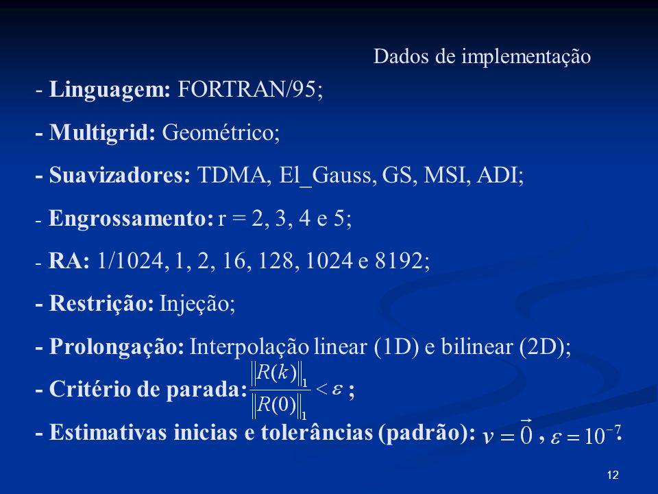 12 Dados de implementação - Linguagem: FORTRAN/95; - Multigrid: Geométrico; - Suavizadores: TDMA, El_Gauss, GS, MSI, ADI; - Engrossamento: r = 2, 3, 4