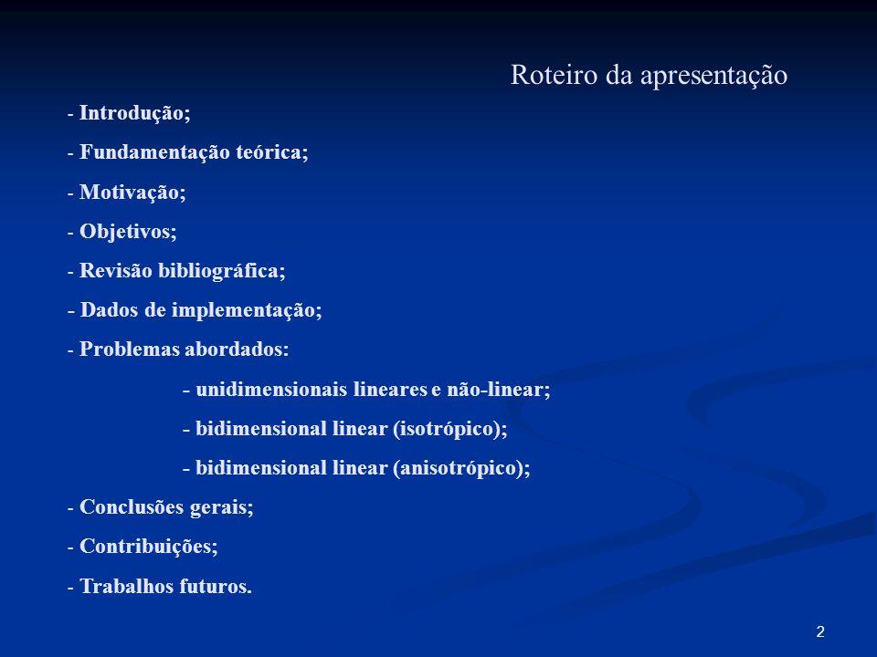2 Roteiro da apresentação - Introdução; - Fundamentação teórica; - Motivação; - Objetivos; - Revisão bibliográfica; - Dados de implementação; - Proble