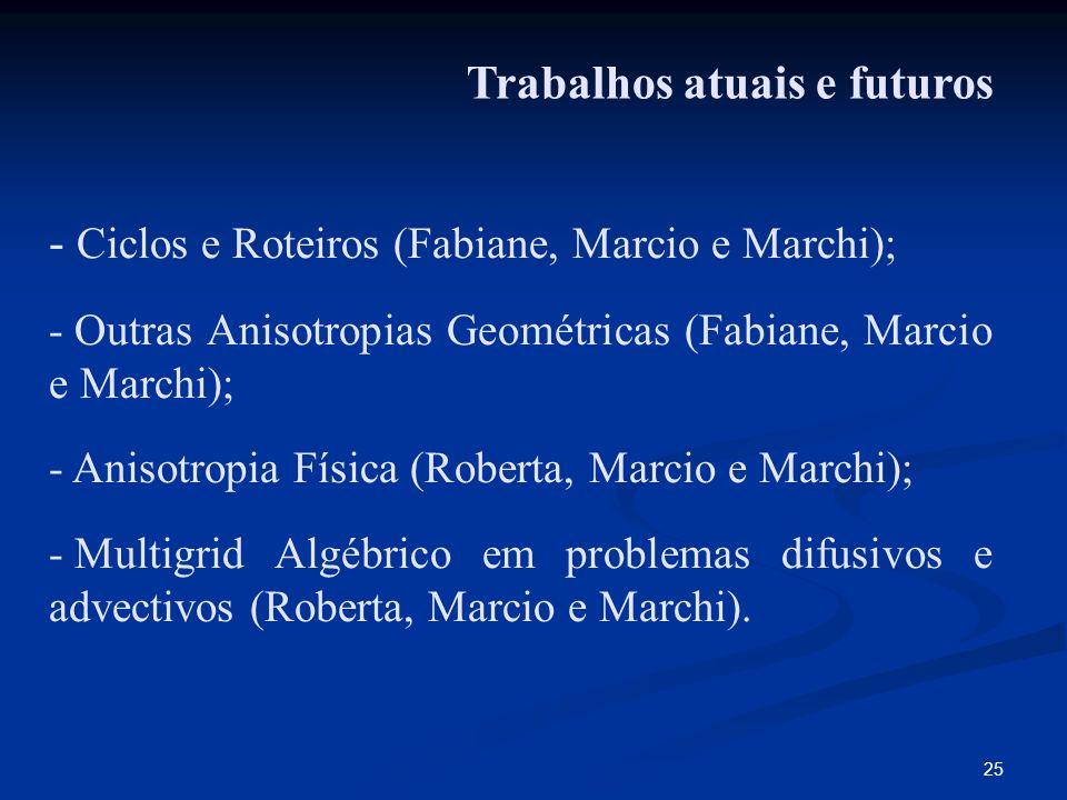 25 Trabalhos atuais e futuros - Ciclos e Roteiros (Fabiane, Marcio e Marchi); - Outras Anisotropias Geométricas (Fabiane, Marcio e Marchi); - Anisotro