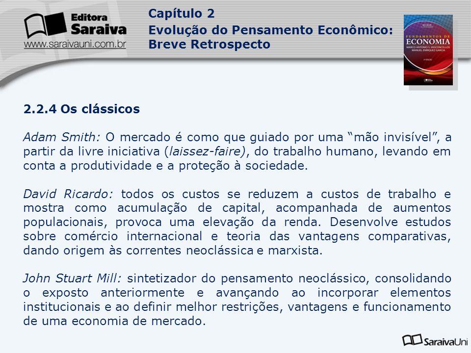 Capítulo 2 Evolução do Pensamento Econômico: Breve Retrospecto 2.2.4 Os clássicos Adam Smith: O mercado é como que guiado por uma mão invisível, a par