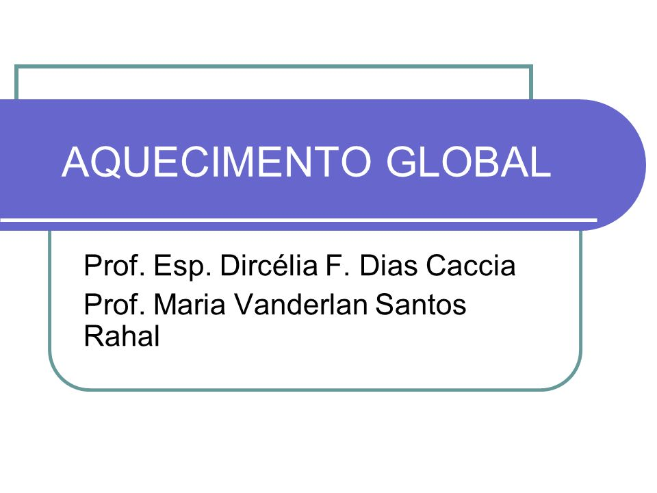 AQUECIMENTO GLOBAL Prof. Esp. Dircélia F. Dias Caccia Prof. Maria Vanderlan Santos Rahal