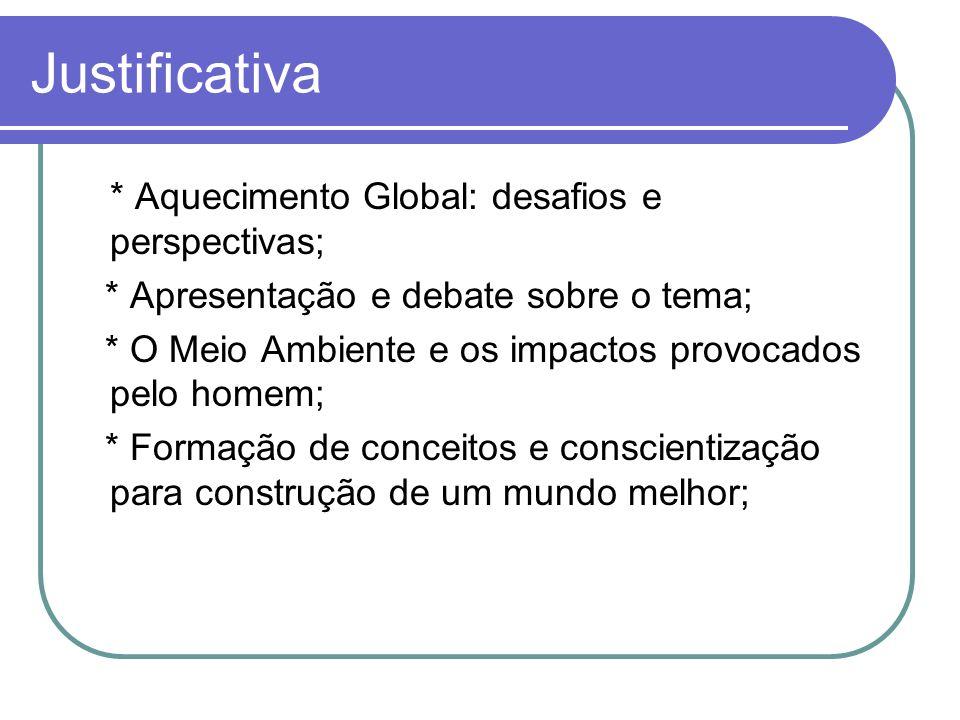 Justificativa * Aquecimento Global: desafios e perspectivas; * Apresentação e debate sobre o tema; * O Meio Ambiente e os impactos provocados pelo hom