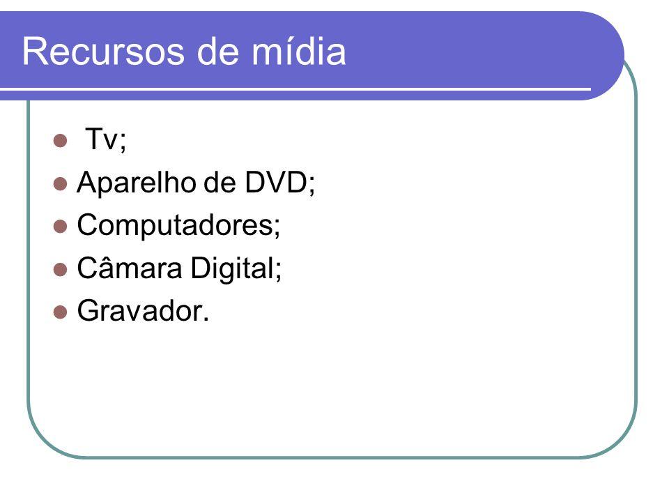 Recursos de mídia Tv; Aparelho de DVD; Computadores; Câmara Digital; Gravador.
