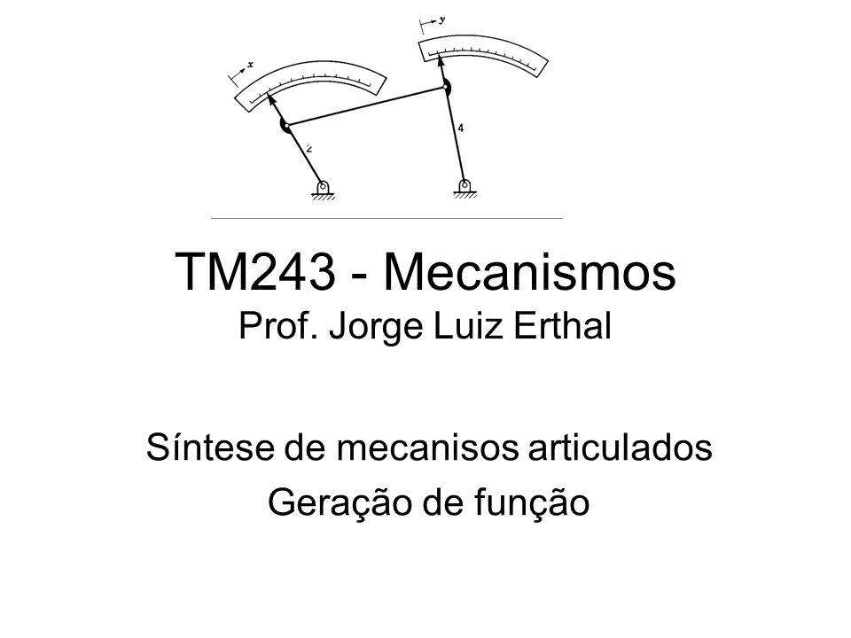 TM243 - Mecanismos Prof. Jorge Luiz Erthal Síntese de mecanisos articulados Geração de função