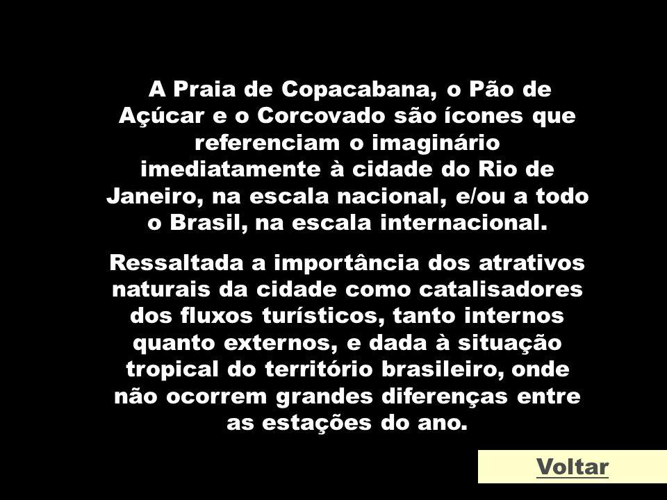 A Praia de Copacabana, o Pão de Açúcar e o Corcovado são ícones que referenciam o imaginário imediatamente à cidade do Rio de Janeiro, na escala nacio