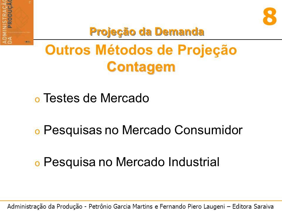 Administração da Produção - Petrônio Garcia Martins e Fernando Piero Laugeni – Editora Saraiva 8 Projeção da Demanda Métodos de Correlação oY = -2,765 - 7,738x1 + 12,286x2 ou o(demanda) = -2,765 - 7,738.(preço) + 12,286.(renda)