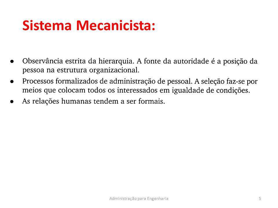 5Administração para Engenharia Sistema Mecanicista: