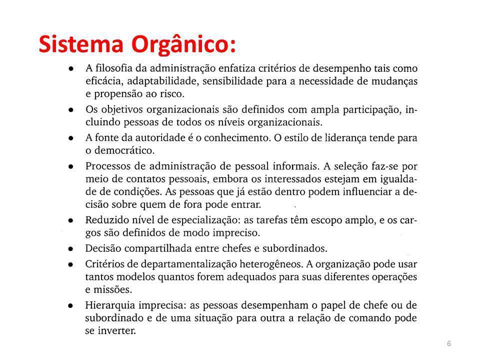 6Administração para Engenharia Sistema Orgânico: