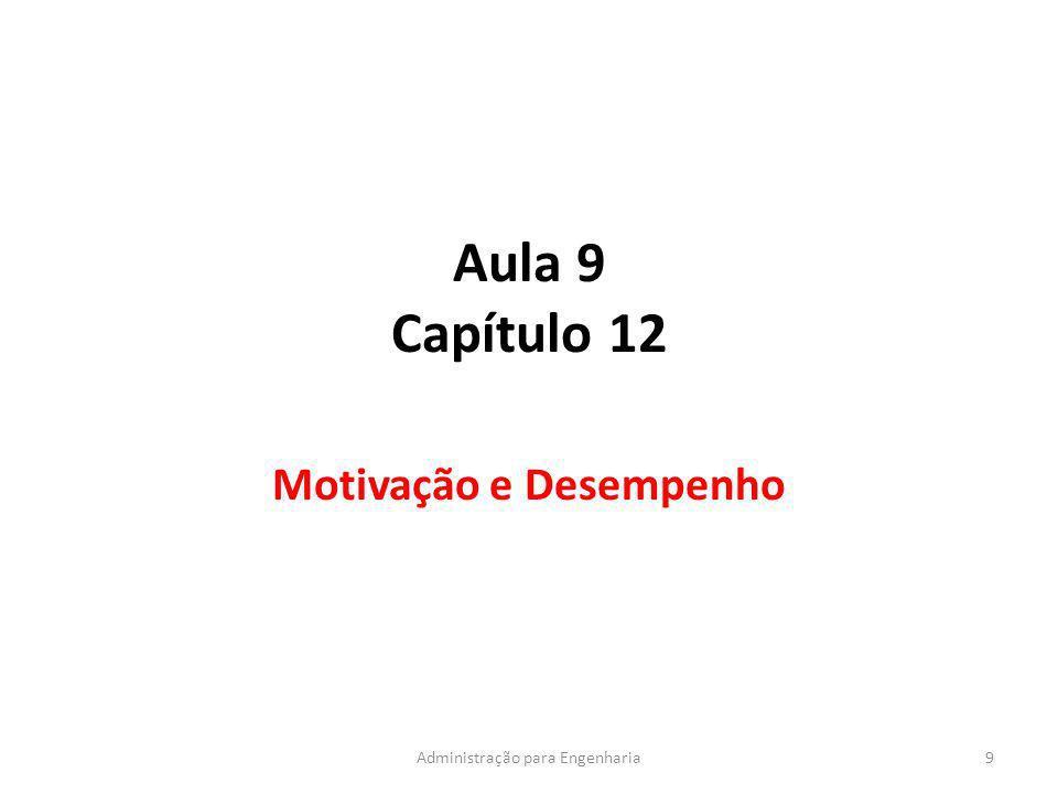 Aula 9 Capítulo 12 Motivação e Desempenho 9Administração para Engenharia