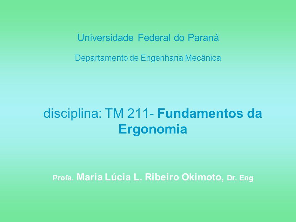 Universidade Federal do Paraná Departamento de Engenharia Mecânica disciplina: TM 211- Fundamentos da Ergonomia Profa. Maria Lúcia L. Ribeiro Okimoto,