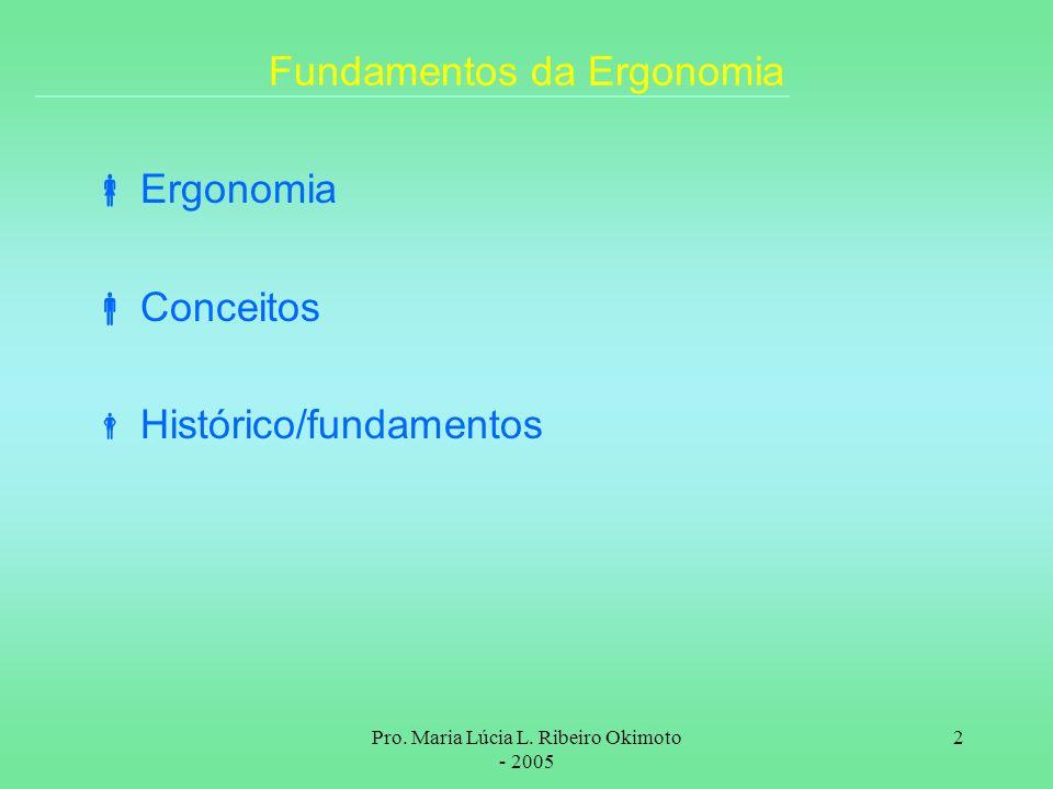 Pro. Maria Lúcia L. Ribeiro Okimoto - 2005 2 Fundamentos da Ergonomia Ergonomia Conceitos Histórico/fundamentos