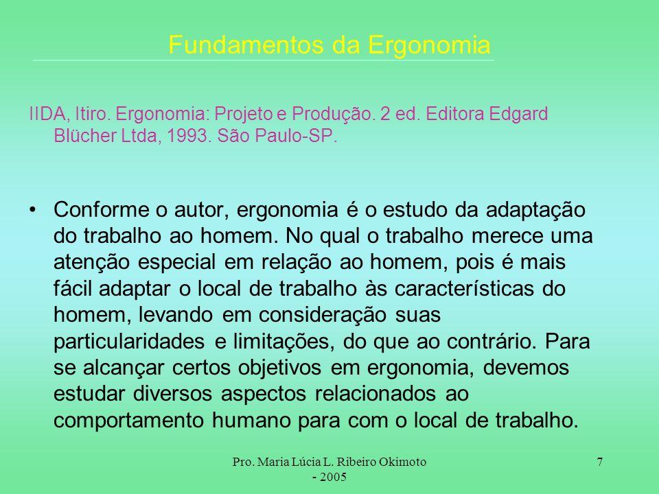 Pro. Maria Lúcia L. Ribeiro Okimoto - 2005 7 Fundamentos da Ergonomia IIDA, Itiro. Ergonomia: Projeto e Produção. 2 ed. Editora Edgard Blücher Ltda, 1