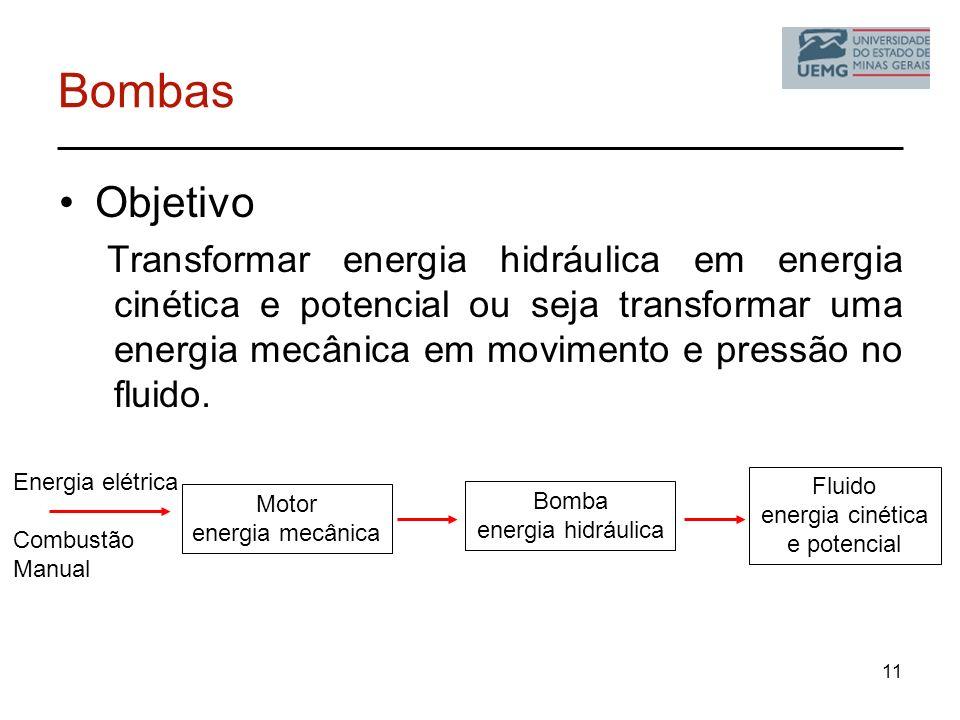 11 Energia elétrica Combustão Manual Bombas Objetivo Transformar energia hidráulica em energia cinética e potencial ou seja transformar uma energia me