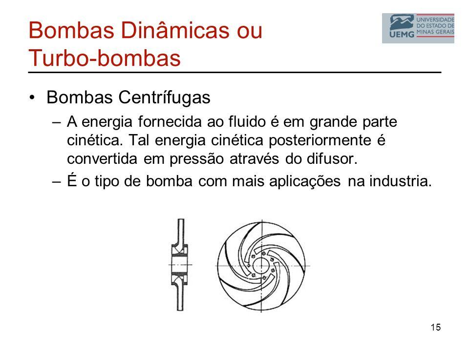 Bombas Dinâmicas ou Turbo-bombas Bombas Centrífugas –A energia fornecida ao fluido é em grande parte cinética. Tal energia cinética posteriormente é c