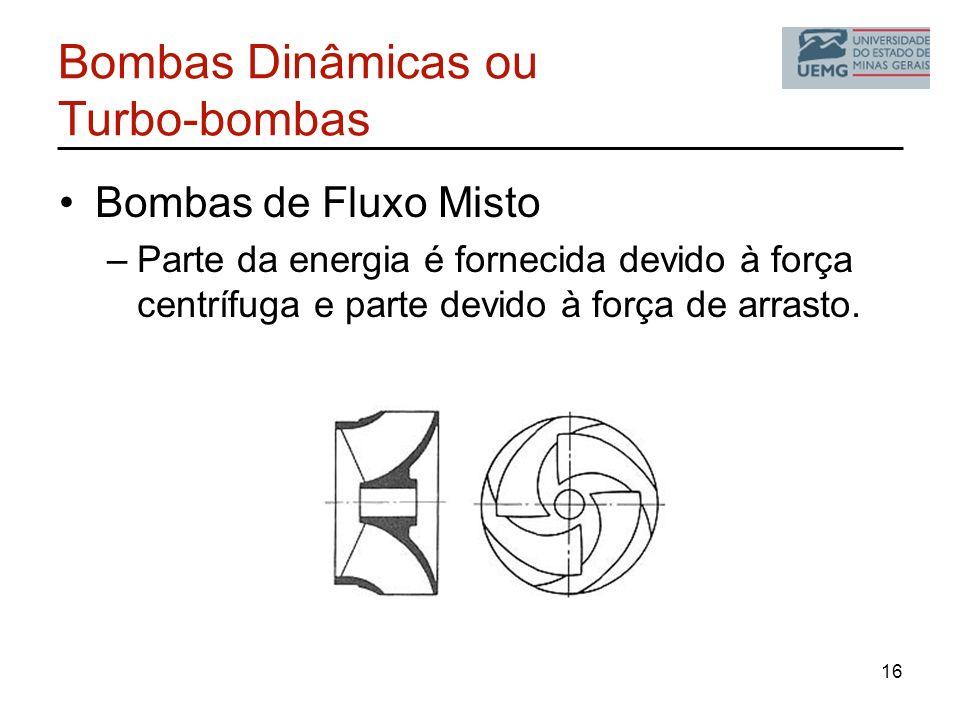 Bombas Dinâmicas ou Turbo-bombas Bombas de Fluxo Misto –Parte da energia é fornecida devido à força centrífuga e parte devido à força de arrasto. 16