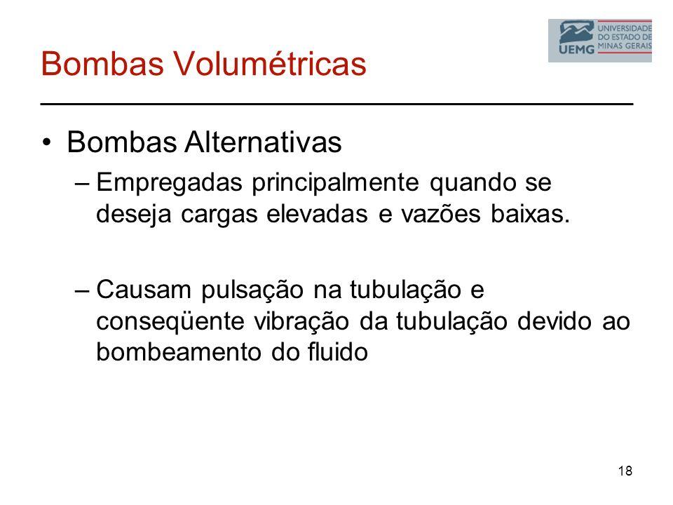18 Bombas Volumétricas Bombas Alternativas –Empregadas principalmente quando se deseja cargas elevadas e vazões baixas. –Causam pulsação na tubulação