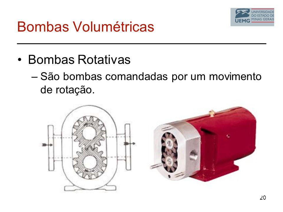 Bombas Volumétricas Bombas Rotativas –São bombas comandadas por um movimento de rotação. 20