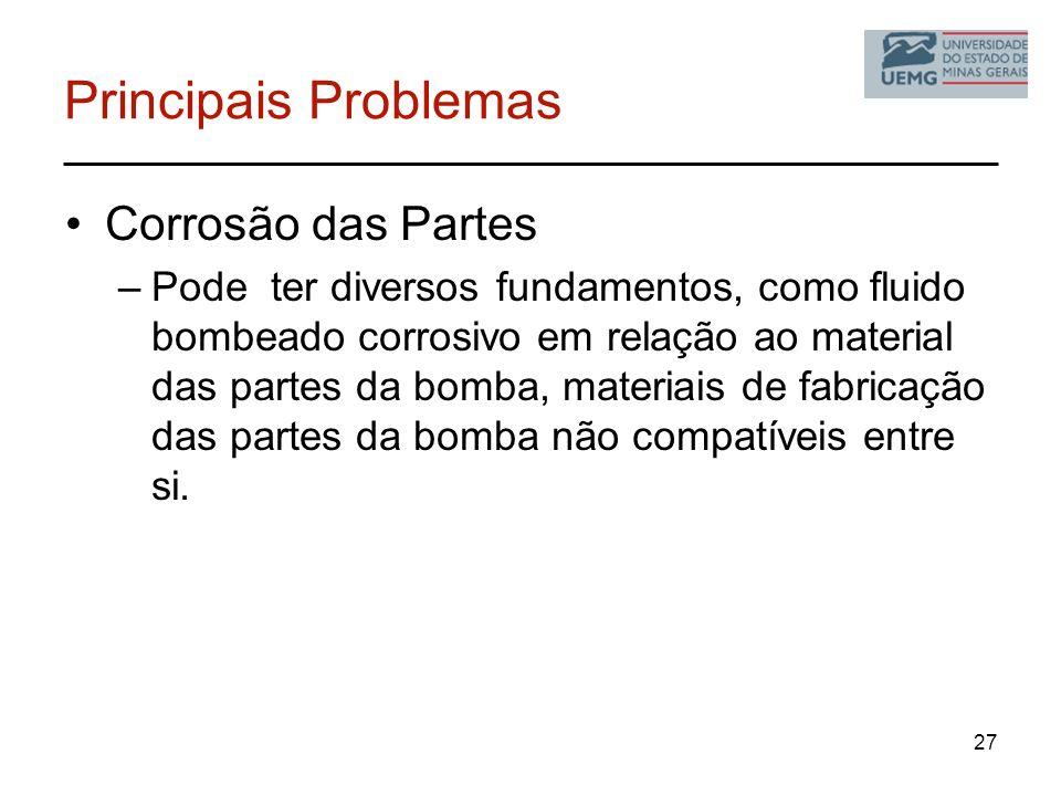 Principais Problemas Corrosão das Partes –Pode ter diversos fundamentos, como fluido bombeado corrosivo em relação ao material das partes da bomba, ma