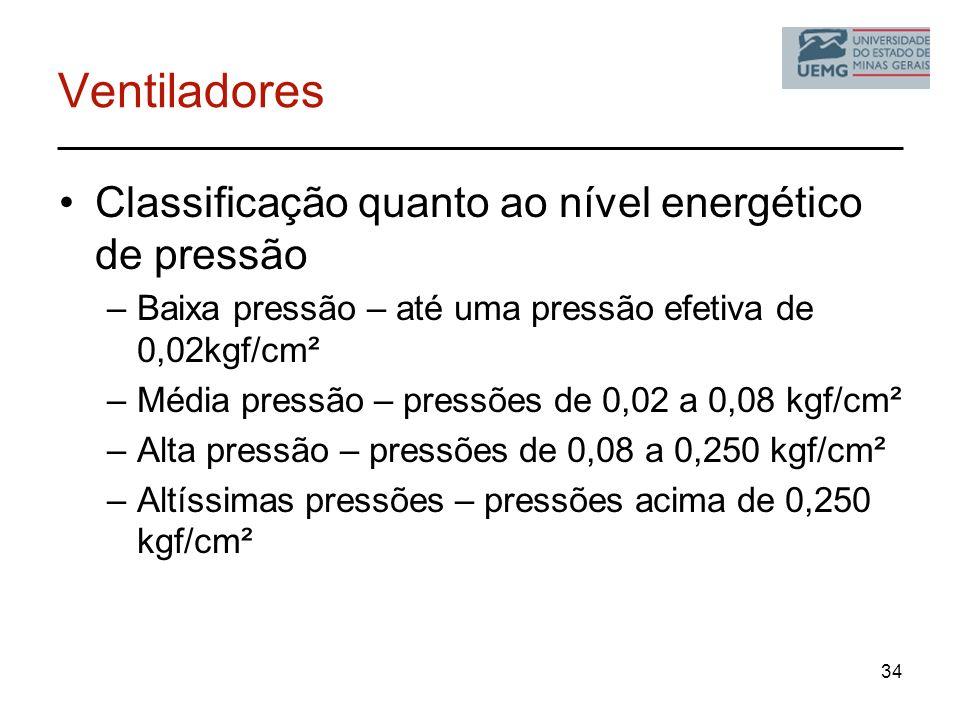 34 Ventiladores Classificação quanto ao nível energético de pressão –Baixa pressão – até uma pressão efetiva de 0,02kgf/cm² –Média pressão – pressões