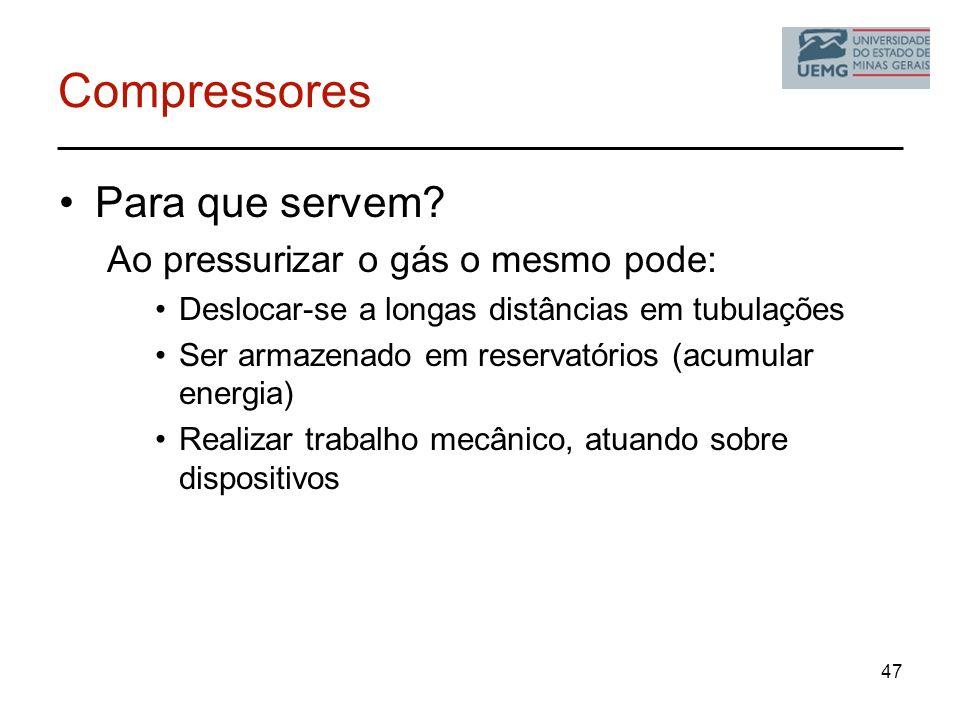 Compressores Para que servem? Ao pressurizar o gás o mesmo pode: Deslocar-se a longas distâncias em tubulações Ser armazenado em reservatórios (acumul