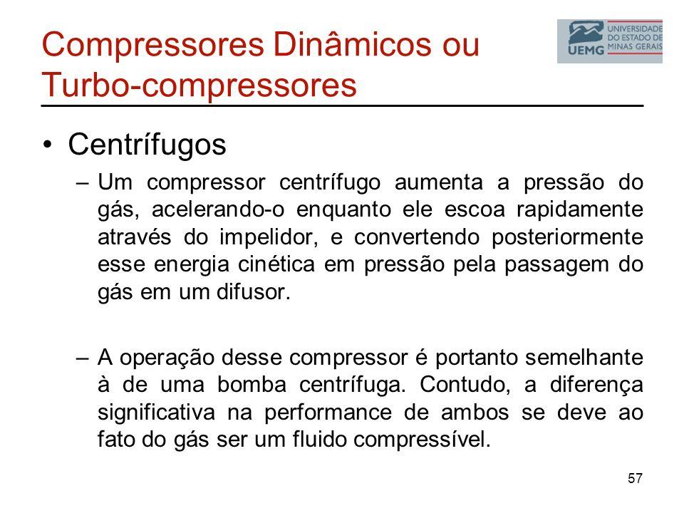 Compressores Dinâmicos ou Turbo-compressores Centrífugos –Um compressor centrífugo aumenta a pressão do gás, acelerando-o enquanto ele escoa rapidamen