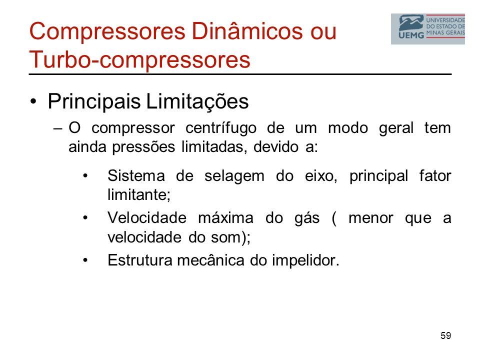 Compressores Dinâmicos ou Turbo-compressores Principais Limitações –O compressor centrífugo de um modo geral tem ainda pressões limitadas, devido a: S