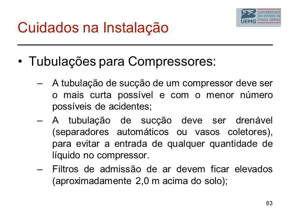 Cuidados na Instalação Tubulações para Compressores: –A tubulação de sucção de um compressor deve ser o mais curta possível e com o menor número possí