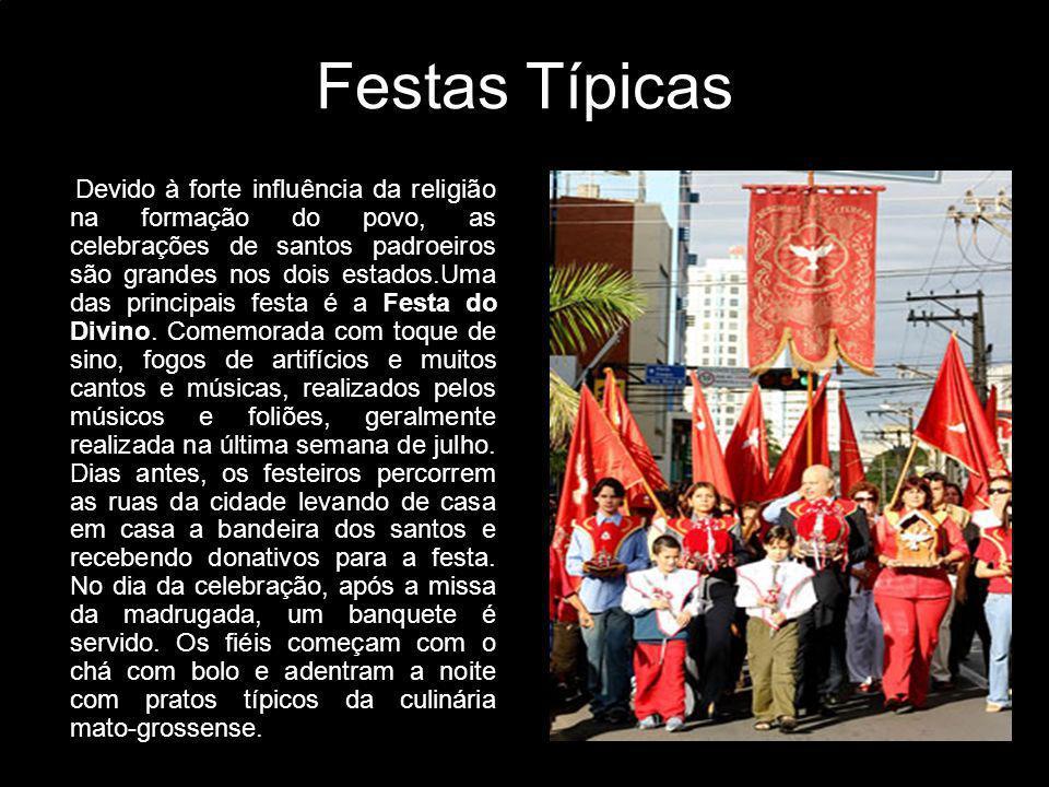Festas Típicas Devido à forte influência da religião na formação do povo, as celebrações de santos padroeiros são grandes nos dois estados.Uma das pri