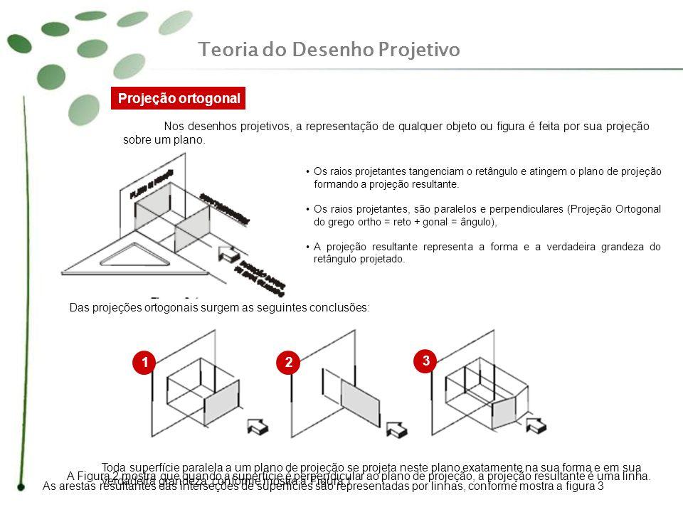 Nos desenhos projetivos, a representação de qualquer objeto ou figura é feita por sua projeção sobre um plano. Os raios projetantes tangenciam o retân