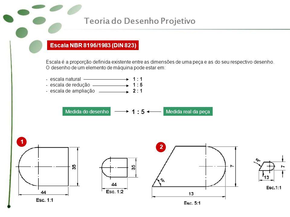 Escala NBR 8196/1983 (DIN 823) Escala é a proporção definida existente entre as dimensões de uma peça e as do seu respectivo desenho. O desenho de um