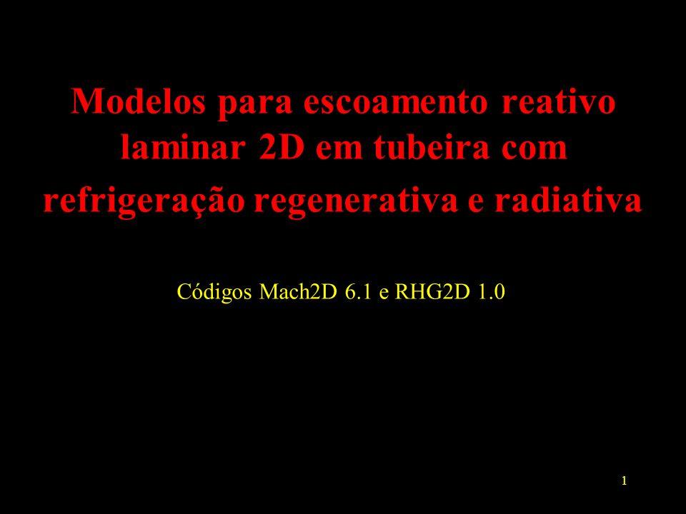 2 Objetivos Implementação de códigos computacionais para solução de escoamento 2D reativo laminar em motores-foguete operando com o sistema H 2 /O 2 (código Mach2D 6.1) Inclusão de efeitos de transferência de calor para refrigeração regenerativa ou radiativa (código RHG2D 1.0)