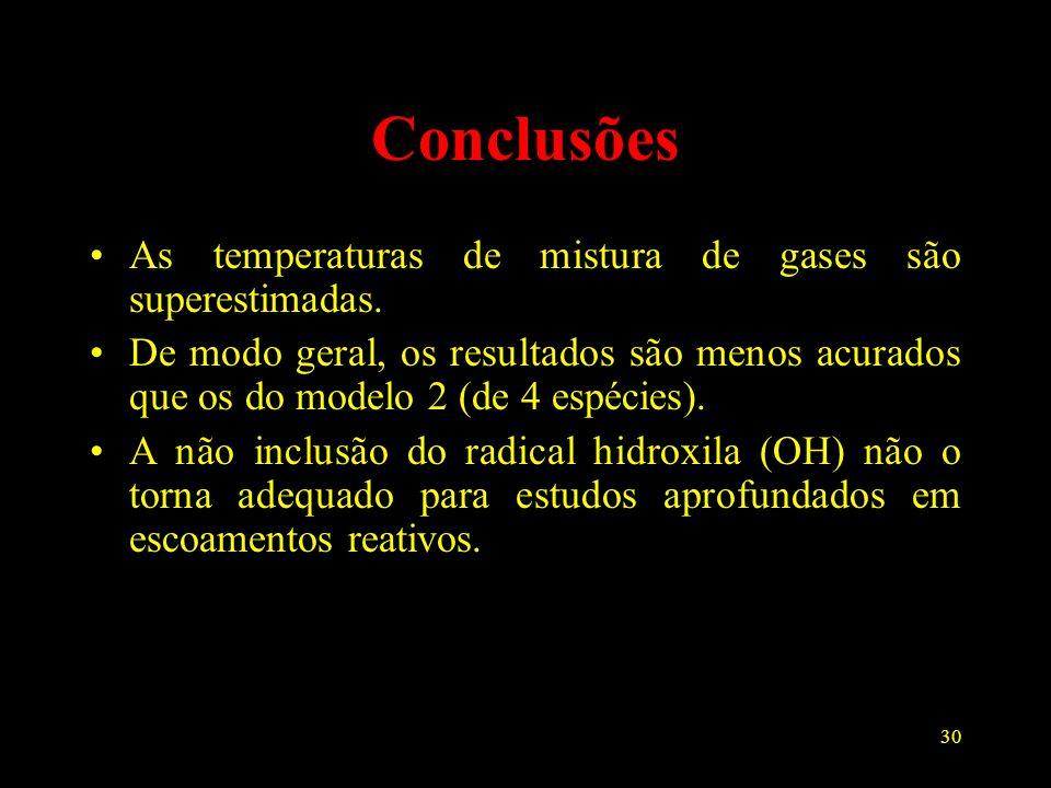 30 Conclusões As temperaturas de mistura de gases são superestimadas. De modo geral, os resultados são menos acurados que os do modelo 2 (de 4 espécie