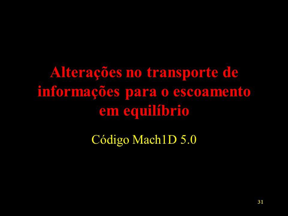 31 Alterações no transporte de informações para o escoamento em equilíbrio Código Mach1D 5.0