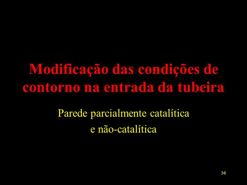 36 Modificação das condições de contorno na entrada da tubeira Parede parcialmente catalítica e não-catalítica
