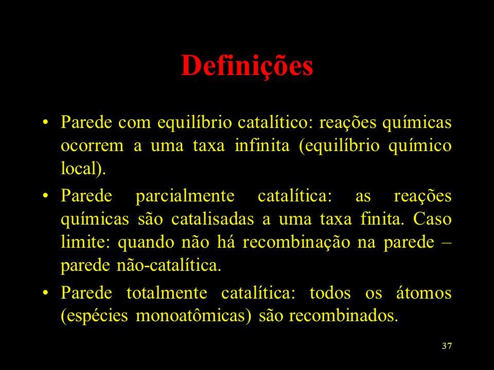 37 Definições Parede com equilíbrio catalítico: reações químicas ocorrem a uma taxa infinita (equilíbrio químico local). Parede parcialmente catalític
